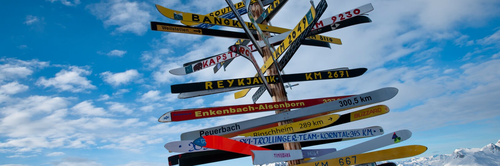 Signpost in the ski area of Ischgl on a sunny day
