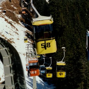 Commissioning of the Pardatschgratbahn as Austria's first monocable gondola in Ischgl