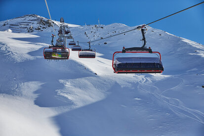Gampenbahn in action on a sunny winter day in the ski area Ischgl