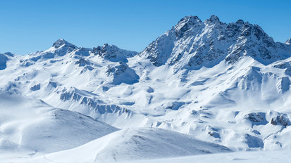 View of the stunning winter landscape of the Fluchthorn in Ischgl