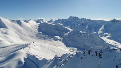View to the stunning mountain landscape of Ischgl