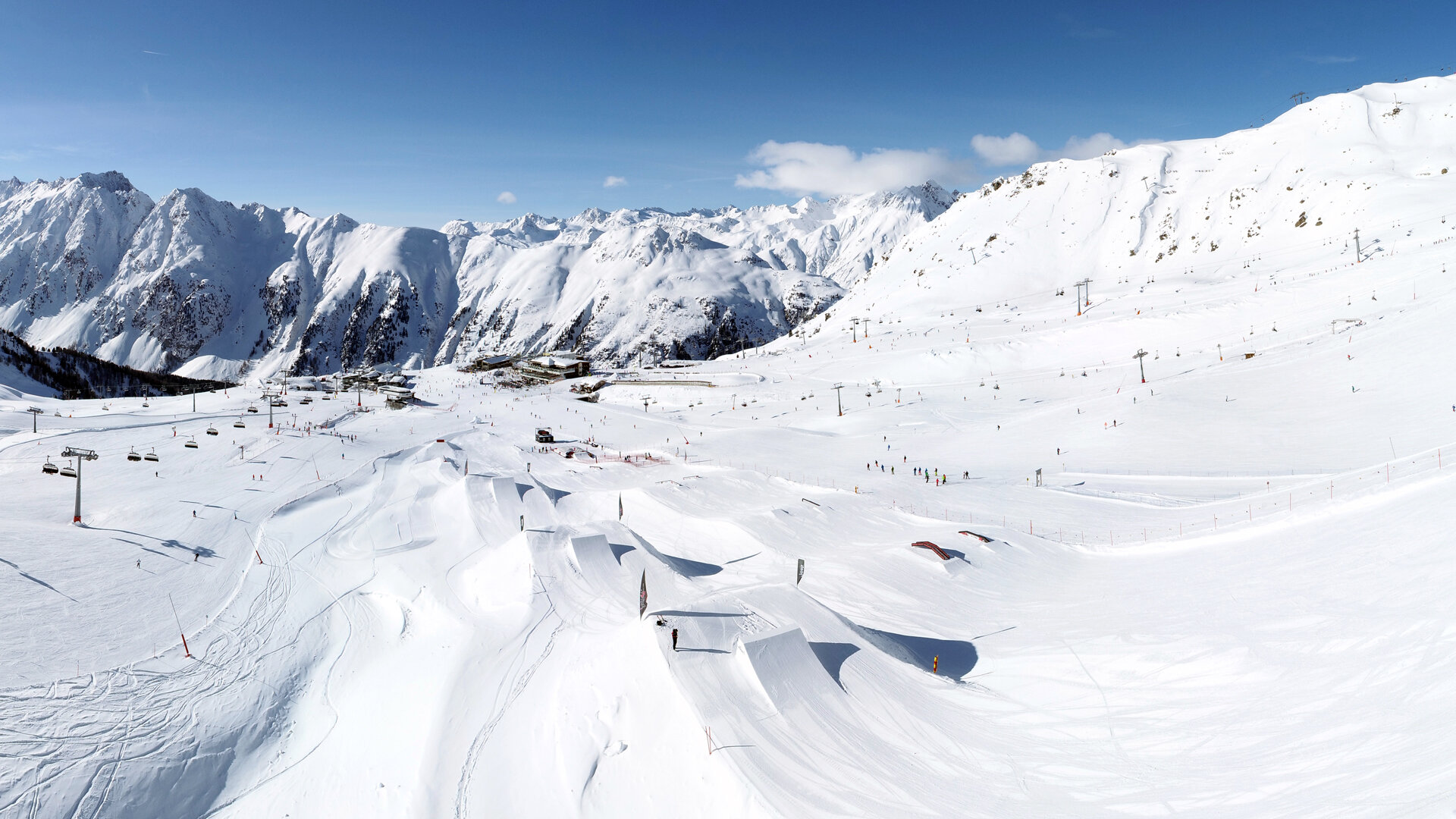 Ischgl's Snowpark Area 2 on a wonderful winter day in Ischgl
