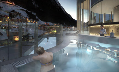 Relaxing with a poolbar and view to Ischgl in the Silvretta-Therme
